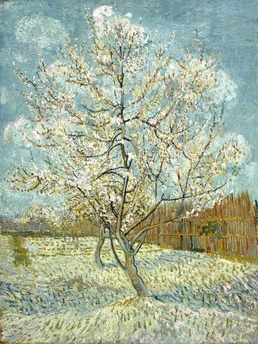 """№0940, """"Orchard in Blossom (Plum Trees)"""" от Ван Гог. Картина с ефектен ръчен релефен финиш. Индивидуална изработка по поръчка."""