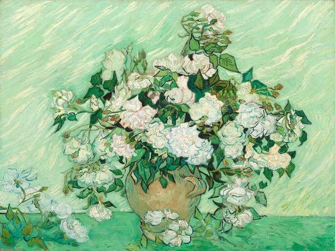 """№0942, """"Рози"""" от Ван Гог. Картина с ефектен ръчен релефен финиш. Индивидуална изработка по поръчка."""