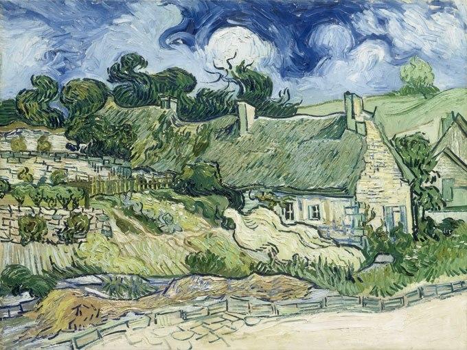 """№0943, """"Thatched Cottages at Cordeville"""" от Ван Гог. Картина с ефектен ръчен релефен финиш. Индивидуална изработка по поръчка."""