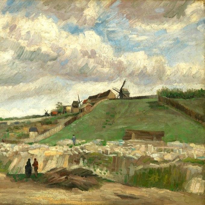"""№0944, """"Хълмът на Монмартър"""" от Ван Гог. Картина с ефектен ръчен релефен финиш. Индивидуална изработка по поръчка."""