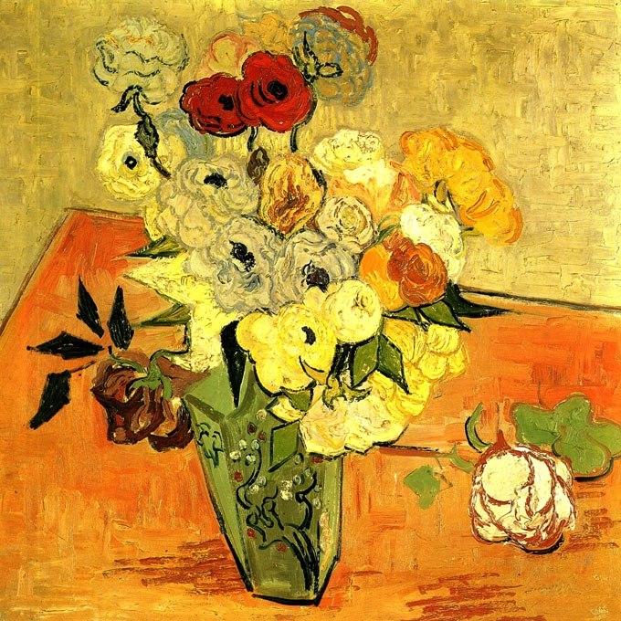 """№0947, """"Японска ваза с рози и анемони"""" от Ван Гог. Картина с ефектен ръчен релефен финиш. Индивидуална изработка по поръчка."""