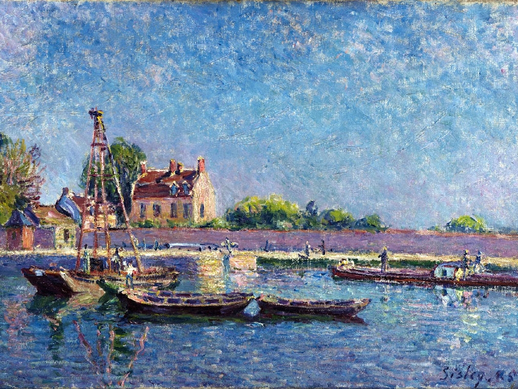"""№0982, """"The Lock of Saint-Mammès"""" от Алфред Сисле. Картина с ефектен ръчен релефен финиш. Индивидуална изработка по поръчка."""