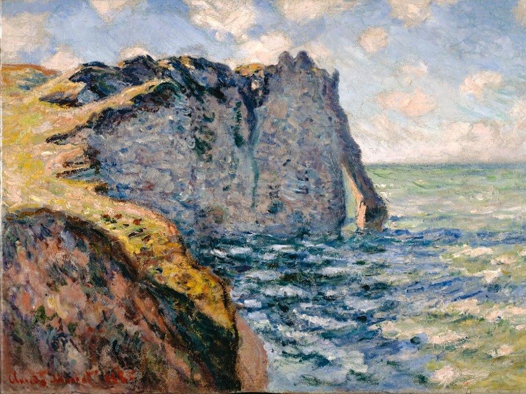 """№0985, """"The Cliff of Aval, Etrétat"""" от Клод Моне. Картина с ефектен ръчен релефен финиш. Индивидуална изработка по поръчка."""