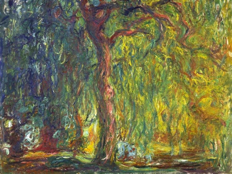 """№0986, """"Плачеща върба"""" от Клод Моне. Картина с ефектен ръчен релефен финиш. Индивидуална изработка по поръчка."""