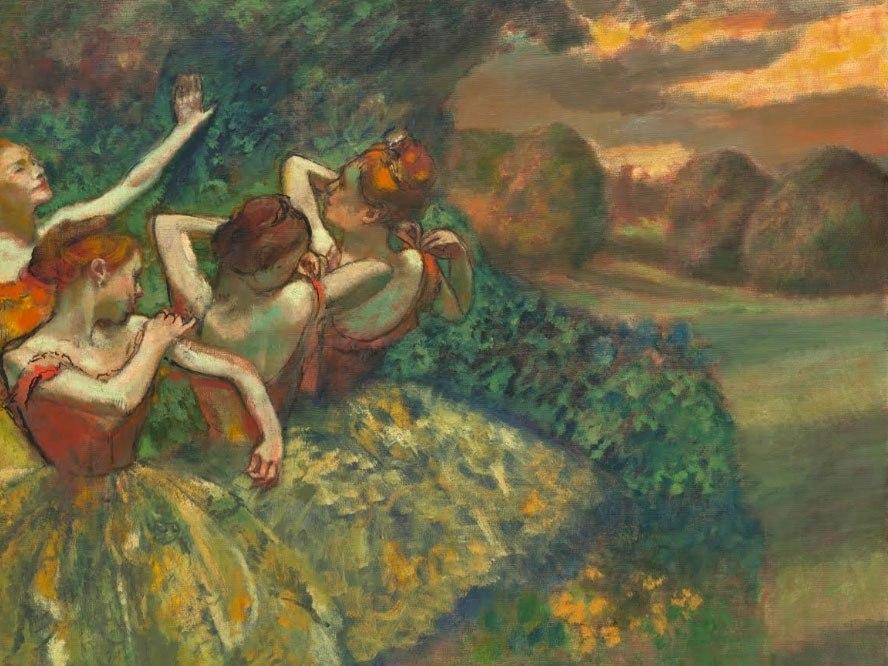 """№0992, """"Четири танцьорки"""" от Едгар Дега. Картина с ефектен ръчен релефен финиш. Индивидуална изработка по поръчка."""