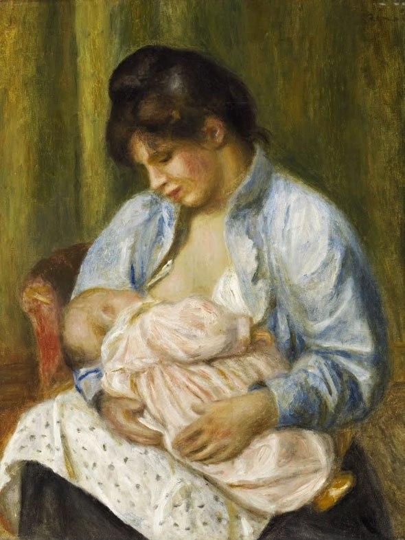 """№1004, """"A Woman Nursing a Child"""" от Реноар. Картина с ефектен ръчен релефен финиш. Индивидуална изработка по поръчка."""