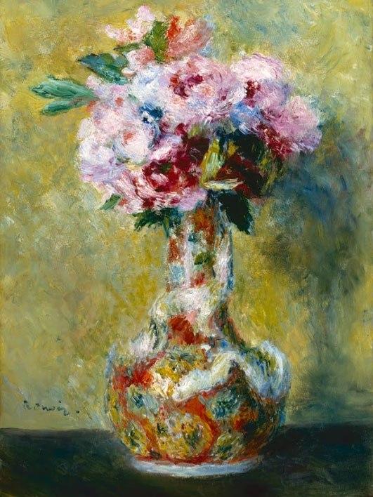 """№1005, """"Bouquet in a Vase"""" от Реноар. Картина с ефектен ръчен релефен финиш. Индивидуална изработка по поръчка."""