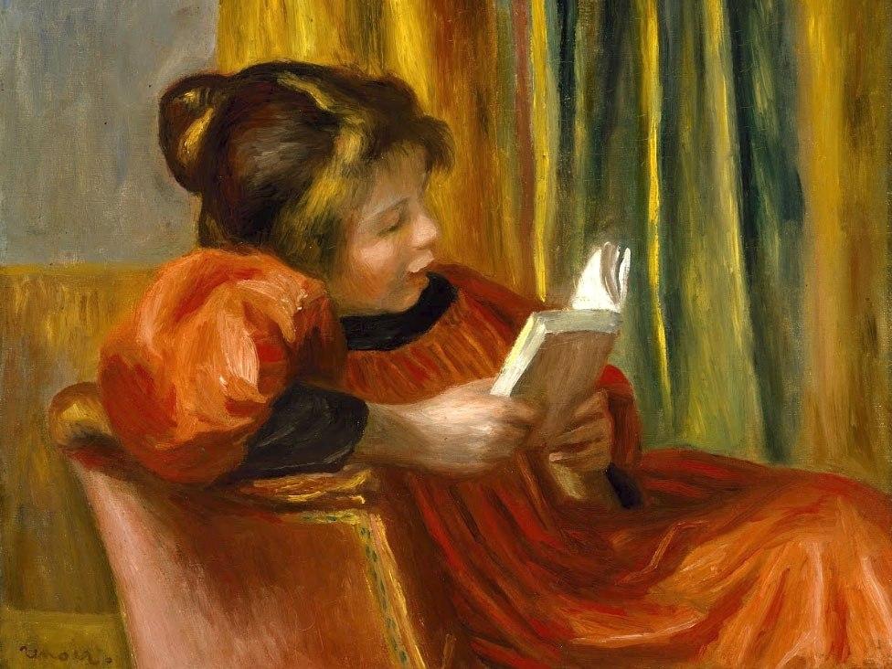 """№1006, """"Girl Reading"""" от Реноар. Картина с ефектен ръчен релефен финиш. Индивидуална изработка по поръчка."""