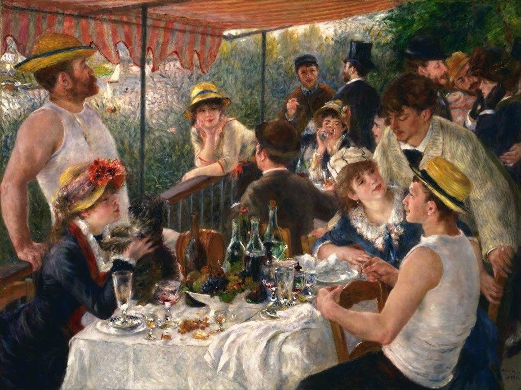 """№1010, """"Luncheon of the Boating Party"""" от Реноар. Картина с ефектен ръчен релефен финиш. Индивидуална изработка по поръчка."""