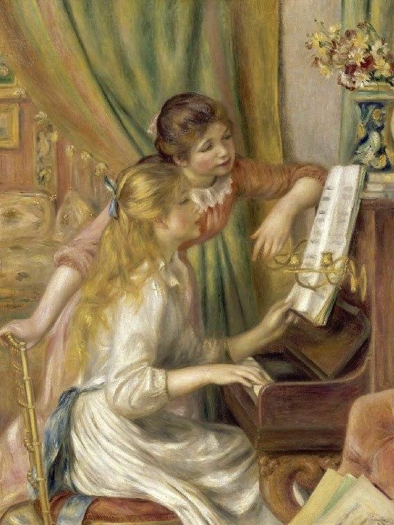 """№1015, """"Young Girls at the Piano"""" от Реноар. Картина с ефектен ръчен релефен финиш. Индивидуална изработка по поръчка."""