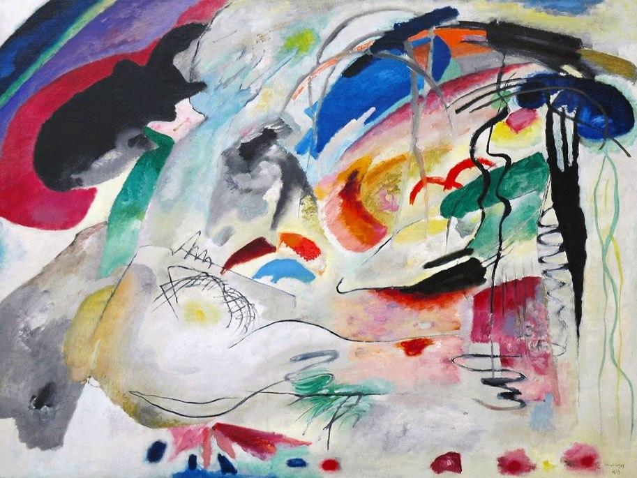 """№1016, """"Improvisation"""" от Кандински. Картина с ефектен ръчен релефен финиш. Индивидуална изработка по поръчка."""
