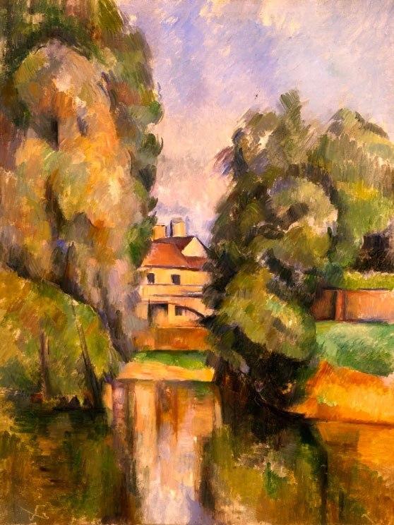 """№1019, """"Country House by a River"""" от Пол Сезан. Картина с ефектен ръчен релефен финиш. Индивидуална изработка по поръчка."""