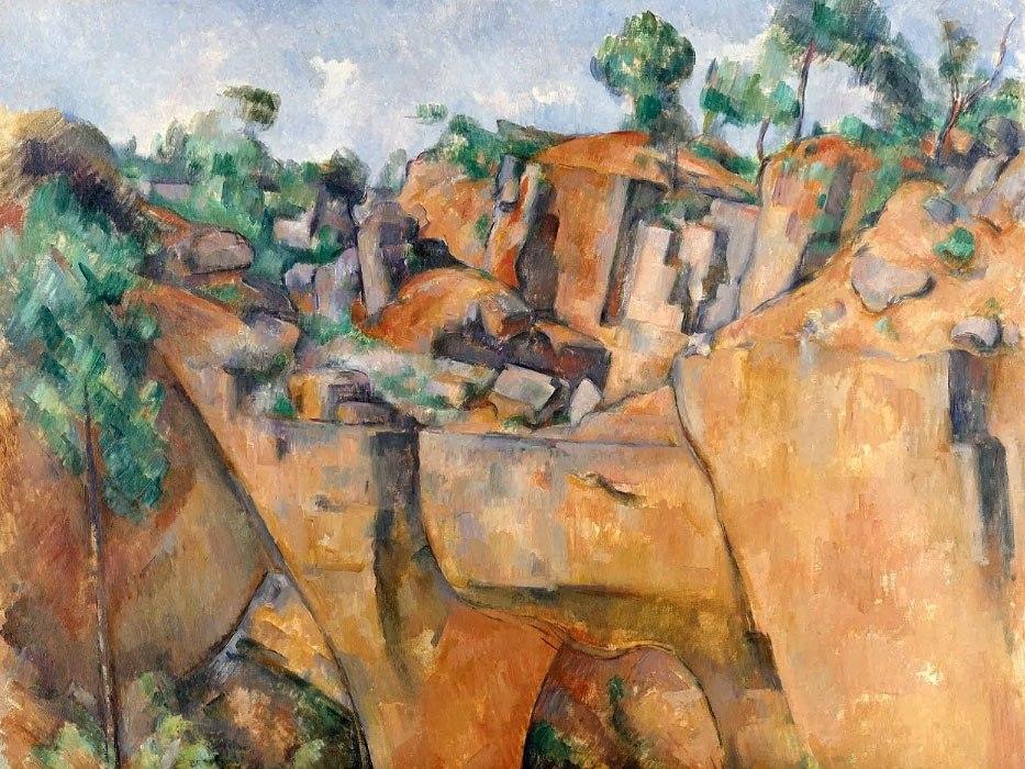 """№1021, """"La carrière de Bibémus"""" от Пол Сезан. Картина с ефектен ръчен релефен финиш. Индивидуална изработка по поръчка."""