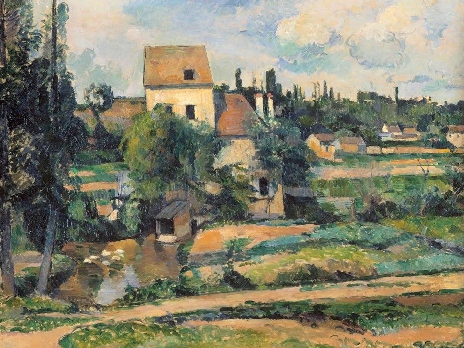 """№1022, """"Mill on the Couleuvre at Pontoise"""" от Сезан. Картина с ефектен ръчен релефен финиш. Индивидуална изработка по поръчка."""
