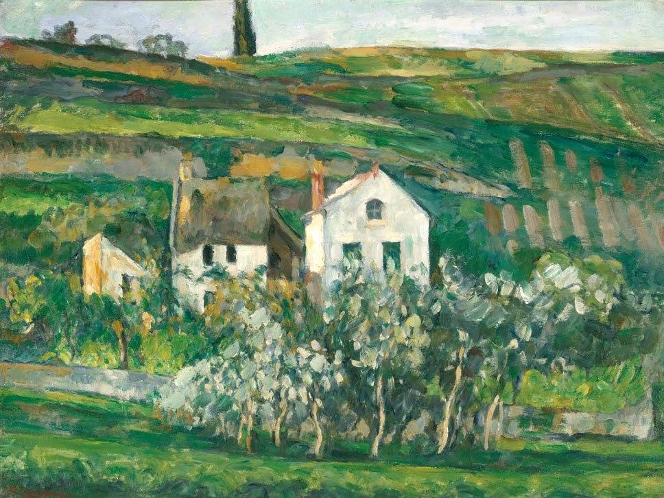 """№1023, """"Small Houses in Pontoise"""" от Пол Сезан. Картина с ефектен ръчен релефен финиш. Индивидуална изработка по поръчка."""