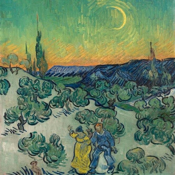 """№1024, """"A Walk at Twilight"""" от Ван Гог. Картина с ефектен ръчен релефен финиш. Индивидуална изработка по поръчка."""