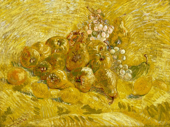 """№1026, """"Quinces, lemons, pears and grapes"""" от Ван Гог. Картина с ефектен ръчен релефен финиш. Индивидуална изработка по поръчка."""