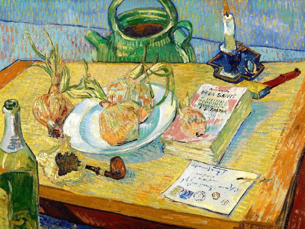"""№1027, """"Still life with a plate of onions"""" от Ван Гог. Картина с ефектен ръчен релефен финиш. Индивидуална изработка по поръчка."""