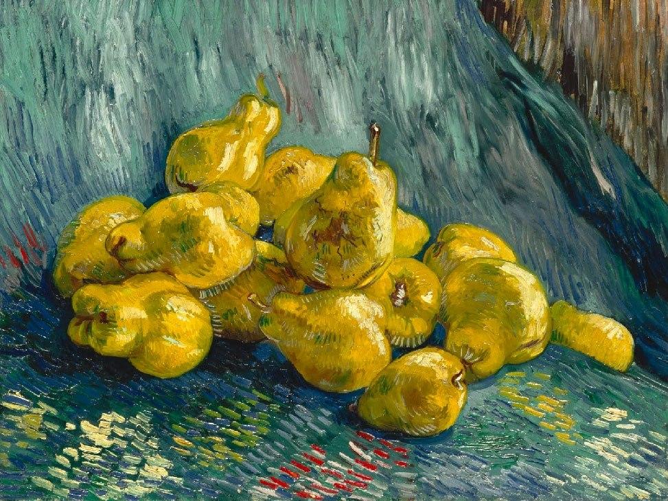 """№1028, """"Still Life with Quinces"""" от Ван Гог. Картина с ефектен ръчен релефен финиш. Индивидуална изработка по поръчка."""