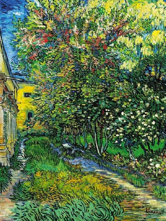 """№1029, """"The garden of the asylum"""" от Ван Гог. Картина с ефектен ръчен релефен финиш. Индивидуална изработка по поръчка."""
