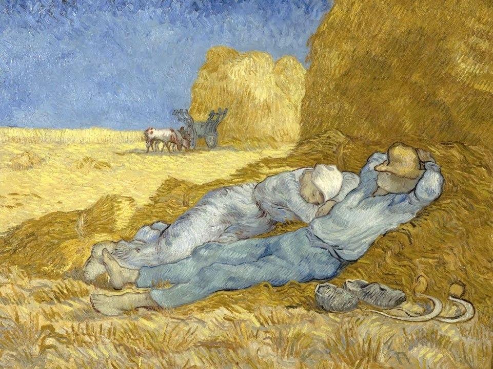 """№1030, """"The siesta (after Millet)"""" от Ван Гог. Картина с ефектен ръчен релефен финиш. Индивидуална изработка по поръчка."""