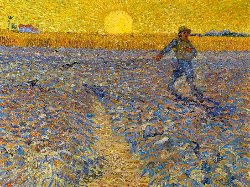 """№1031, """"The sower"""" от Ван Гог. Картина с ефектен ръчен релефен финиш. Индивидуална изработка по поръчка."""