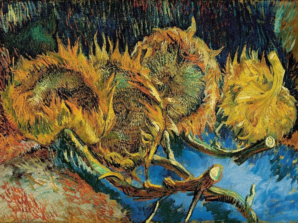 """№1032, """"Four sunflowers gone to seed"""" от Ван Гог. Картина с ефектен ръчен релефен финиш. Индивидуална изработка по поръчка."""