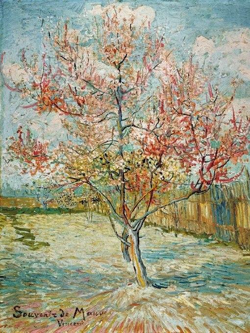 """№0945, """"Розовото прасковено дърво"""" от Ван Гог. Картина с ефектен ръчен релефен финиш. Индивидуална изработка по поръчка."""