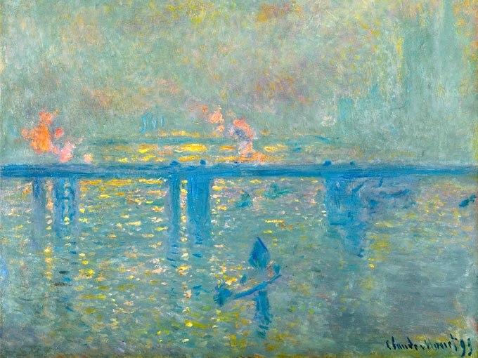 """№1214, """"Charing Cross Bridge"""" от Клод Моне. Жикле картина с ефектен ръчен релеф. Индивидуална изработка по поръчка."""