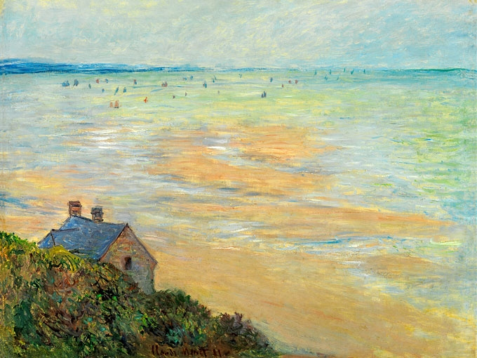 """№1222, """"The Hut in Trouville, Low Tide"""" от Клод Моне. Жикле картина с ефектен ръчен релеф. Индивидуална изработка по поръчка."""