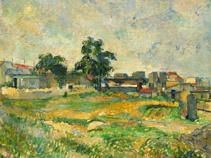 """№1266, """"Landscape near Paris"""" от Пол Сезан. Жикле картина с ефектен ръчен релеф. Индивидуална изработка по поръчка."""
