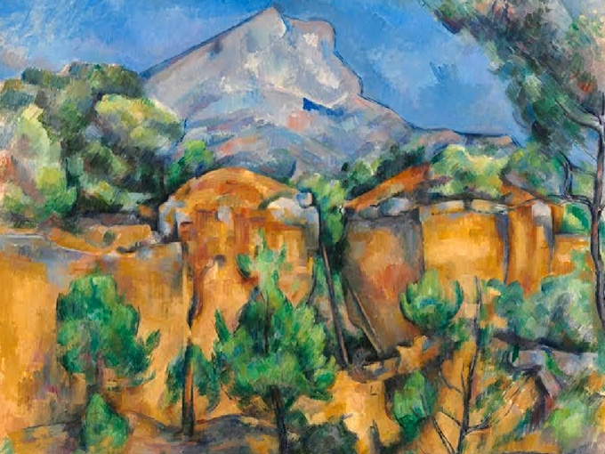 """№1267, """"Mont Sainte-Victoire"""" от Пол Сезан. Жикле картина с ефектен ръчен релеф. Индивидуална изработка по поръчка."""