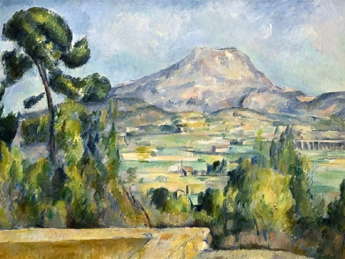 """№1268, """"Mont Sainte-Victoire II"""" от Пол Сезан. Жикле картина с ефектен ръчен релеф. Индивидуална изработка по поръчка."""