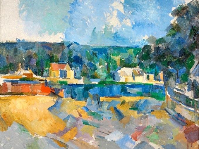 """№1269, """"On the Banks of a River"""" от Пол Сезан. Жикле картина с ефектен ръчен релеф. Индивидуална изработка по поръчка."""