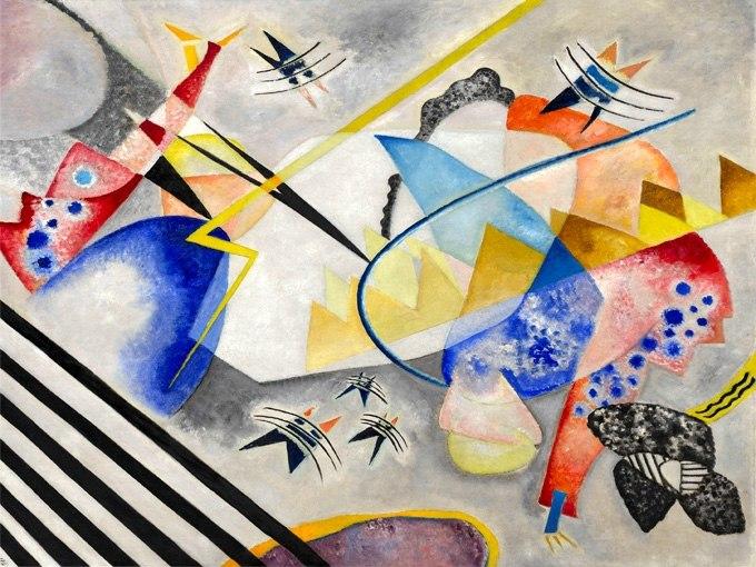 """№1270, """"White Center"""" от Василий Кандински. Жикле картина с ефектен ръчен релеф. Индивидуална изработка по поръчка."""