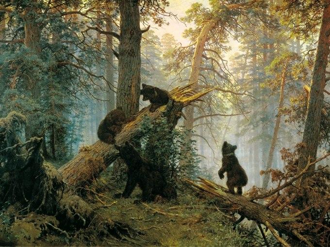 """№1349, """"Утро в боровата гора"""" от  Иван Шишкин. Жикле картина с ефектен ръчен релеф. Индивидуална изработка по поръчка."""