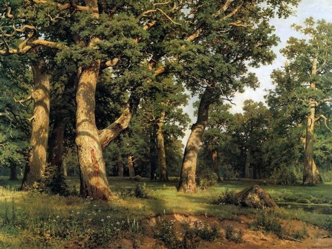 """№1364, """"Дъбова гора"""" от Иван Шишкин. Жикле картина с ефектен ръчен релеф. Индивидуална изработка по поръчка."""