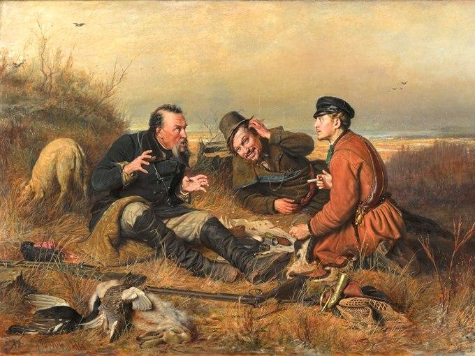 """№1367, """"Охотники на привале"""" от Василий Перов. Жикле картина с ефектен ръчен релеф. Индивидуална изработка по поръчка."""