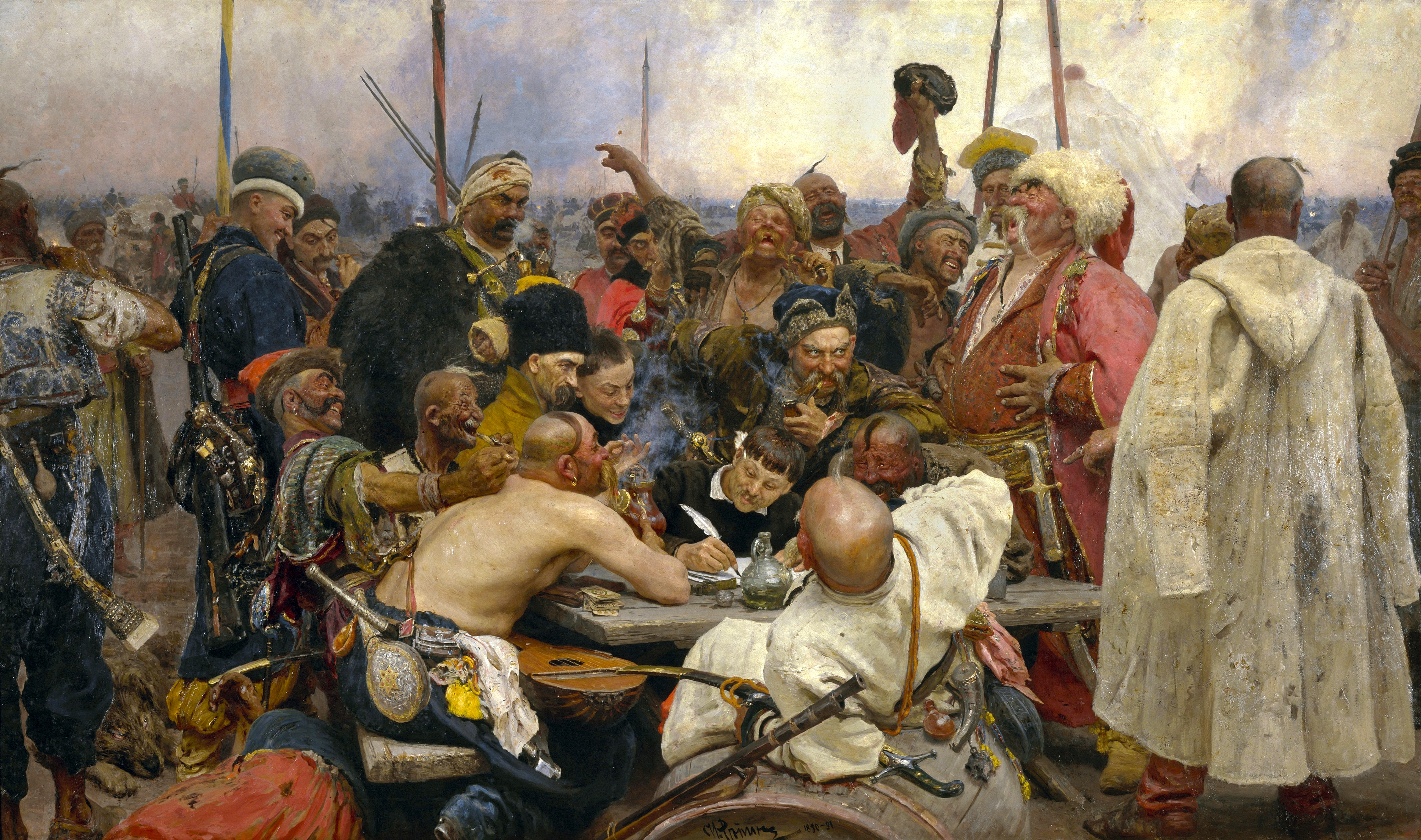 """№1372, """"Запорожци пишат писмо на турския султан"""" от Иля Репин. Жикле картина с ръчен релеф.Индивидуална изработка по поръчка."""