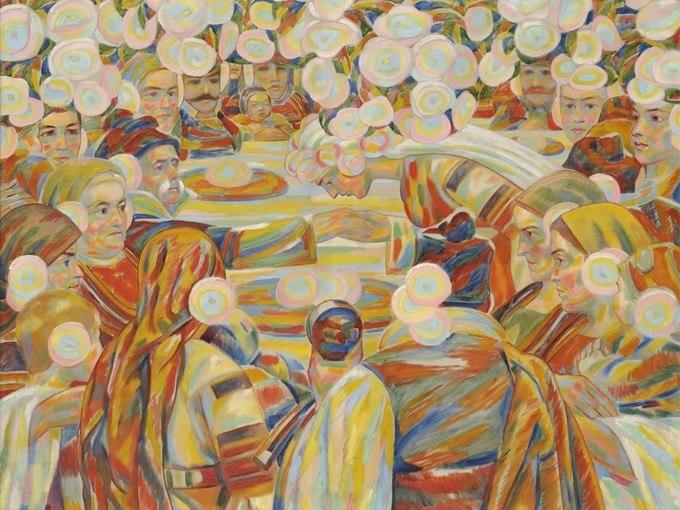 """№1369, """"Сватба"""" от Владимир Димитров-Майстора. Жикле картина с ефектен ръчен релеф. Индивидуална изработка по поръчка."""