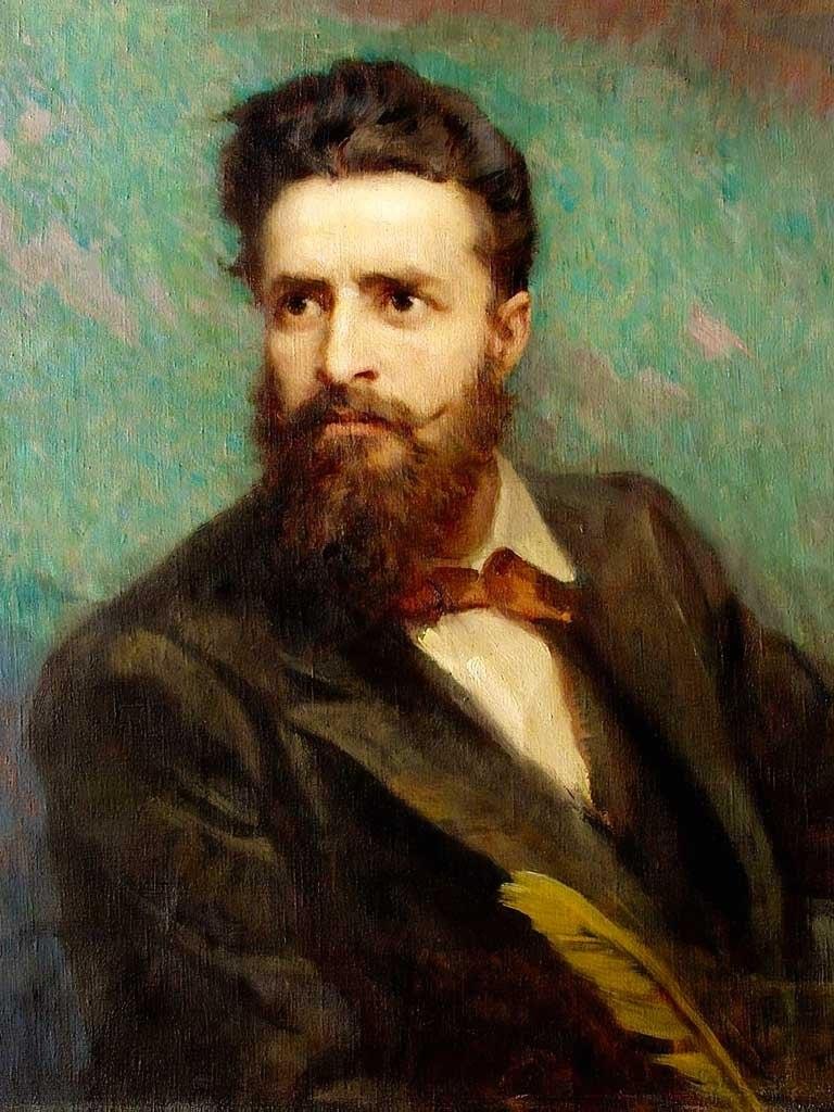 №1401, Портрет на Христо Ботев. Жикле картина с ефектен ръчен релеф. Индивидуална изработка по поръчка.