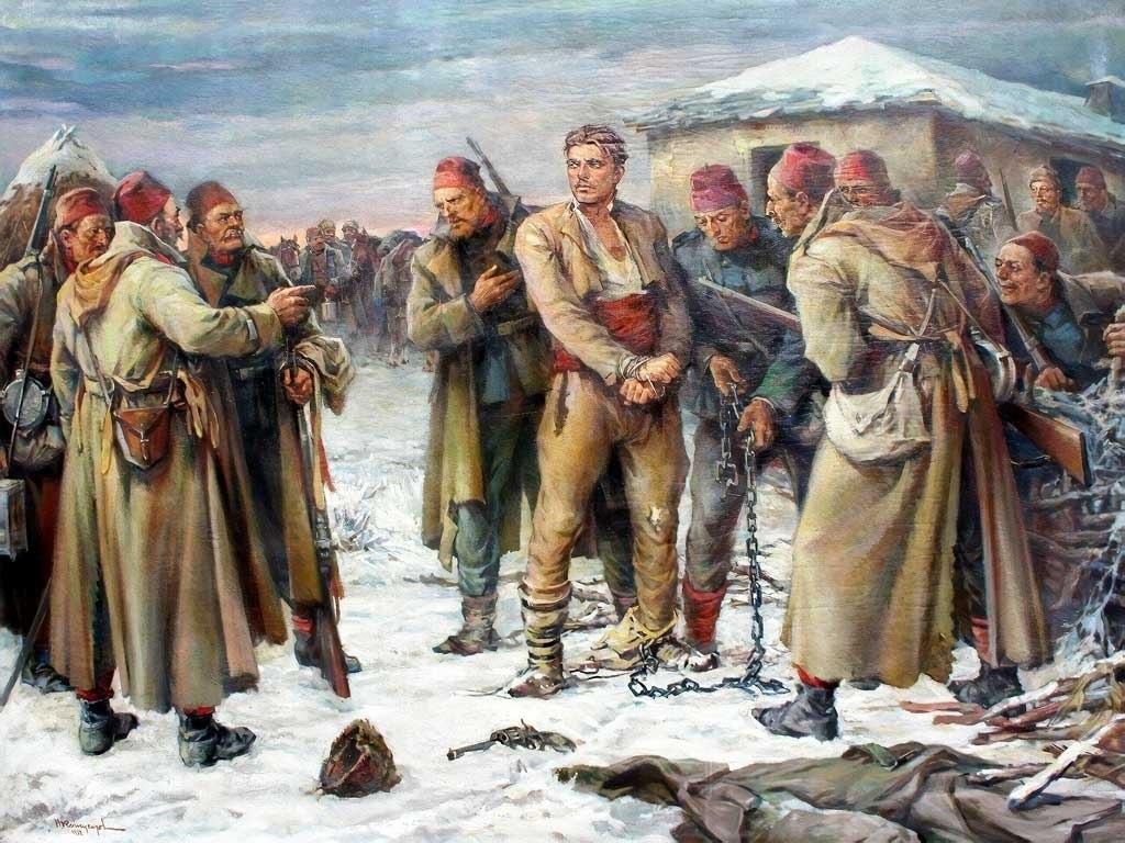 """№1410, """"Залавянето на Васил Левски"""" от Никола Кожухаров. Жикле картина с ефектен ръчен релеф. Индивидуална изработка по поръчка."""