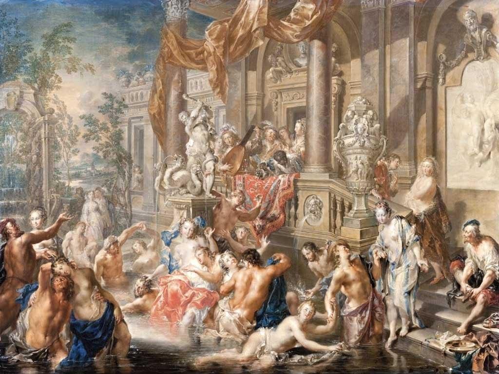 №1430, Fountain scene in front of a palace - J. Platzer. Жикле картина с ефектен ръчен релеф. Индивидуална изработка по поръчка.