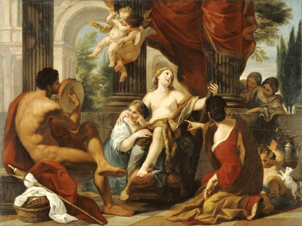 №1432, Hercules and Omphale от Luigi Garzi. Жикле картина с ефектен ръчен релеф. Индивидуална изработка по поръчка.