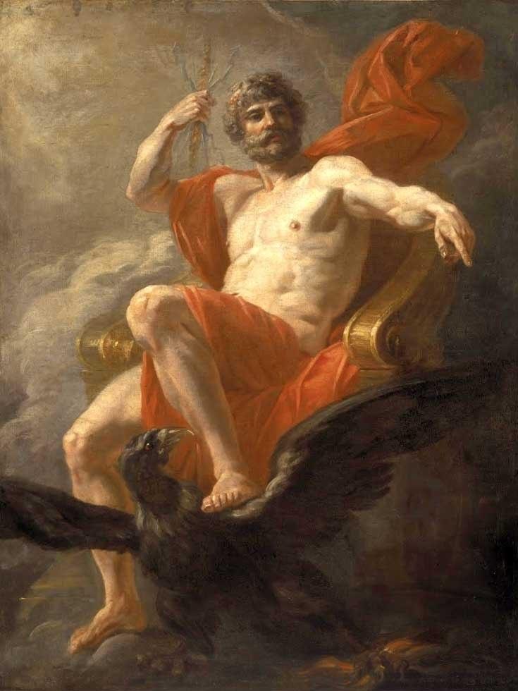 """№1433, """"Jupiter Enthroned"""" от Heinrich Füger. Жикле картина с ефектен ръчен релеф. Индивидуална изработка по поръчка."""