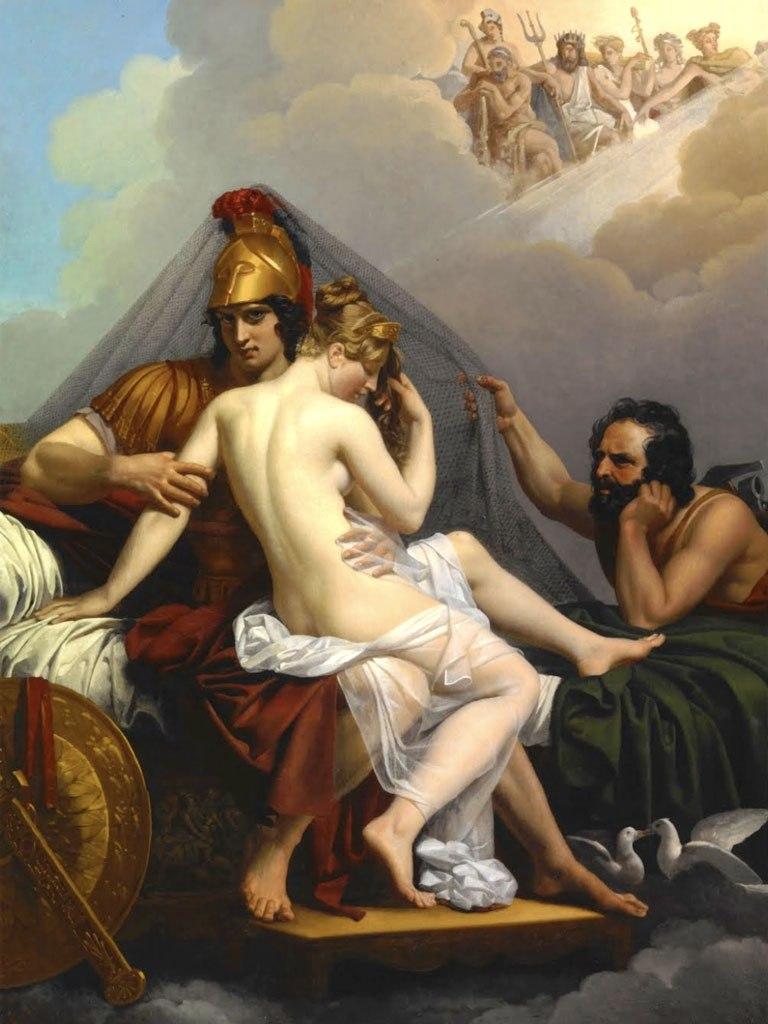 №1437, Mars and Venus Surprised by Vulcan. Жикле картина с ефектен ръчен релеф. Индивидуална изработка по поръчка.