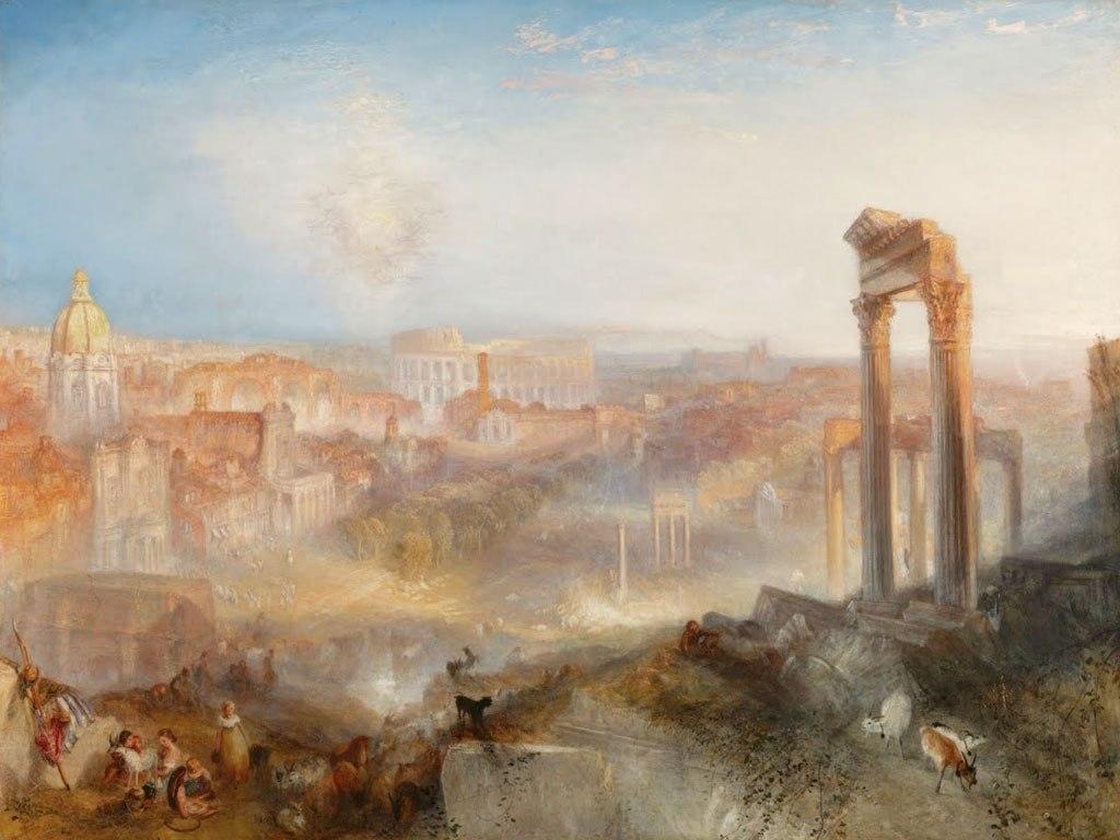 """№1438, """"Modern Rome-Campo Vaccino"""" от Уилям Търнър. Жикле картина с ефектен ръчен релеф. Индивидуална изработка по поръчка."""