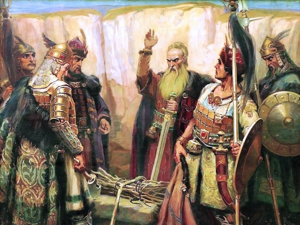 """№1440, """"Хан Кубрат и синовете му"""" от Димитър Гюдженов. Жикле картина с ефектен ръчен релеф. Индивидуална изработка по поръчка."""