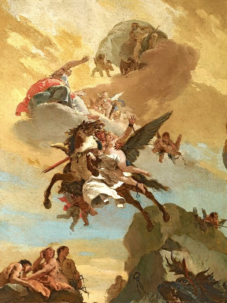"""№1484, """"Персей и Андромеда"""" от Giovanni Tiepolo. Жикле картина с ефектен ръчен релеф. Индивидуална изработка по поръчка."""