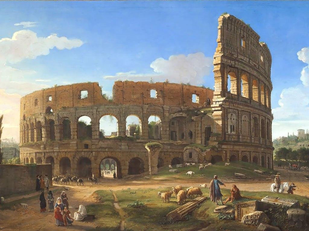 """№1494, """"The Colosseum"""" от Gaspar van Wittel. Жикле картина с ефектен ръчен релеф. Индивидуална изработка по поръчка."""